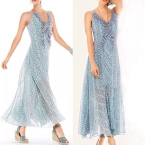 CAbi Garden Party Floral Chiffon Ruffle Maxi Dress